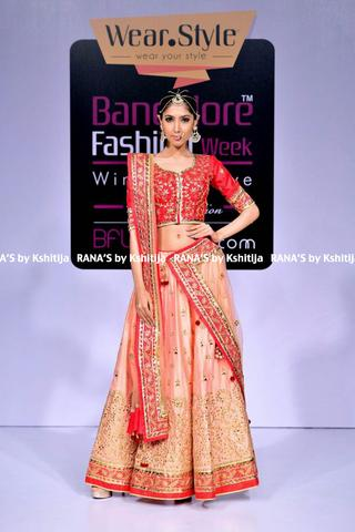 Perfect Peach and Red Lehenga in Pure Silk