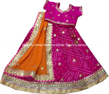 Pink Orange Gota Patti Kids Lehenga - Rana's by Kshitija