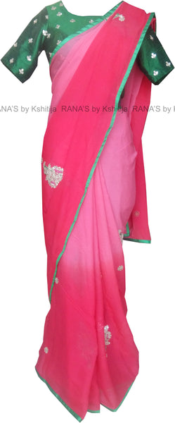 Ombre Dyed Platinum Chiffon Butta Style Saree