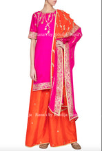 Peppy pink and orange plazzo Dress Set in Gota Work