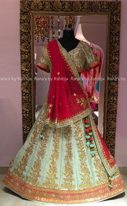 Pretty Mint Green Gota Patti Lehenga