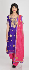 Pretty Purple Suit with Leheriya Dupatta - Rana's by Kshitija