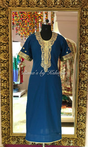Pure Cotton Cambric Kurti in Special Blue Color - Rana's by Kshitija