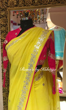 Pure Georgette Saree in Yellow with Hot Pink Full Sleeve Blouse - Rana's by Kshitija