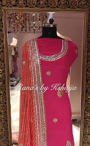 Pure Georgette and Pure Crepe Suit in Handwork