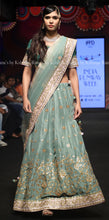 Pure Silk Jaal Design Olive Green Lehenga Set