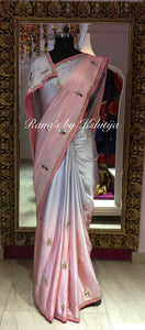 Pure Satin Georgette Mirror Handworked Saree