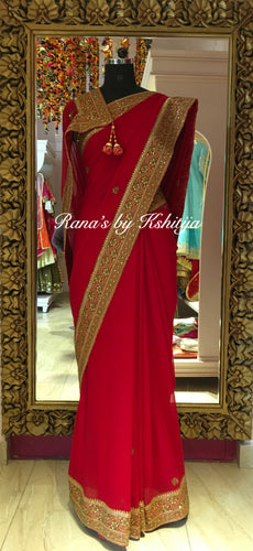 Pure georgette saree with banarsi and zardozi work - Rana's by Kshitija
