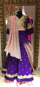 Purple Pink Peplum Top Lehenga Set