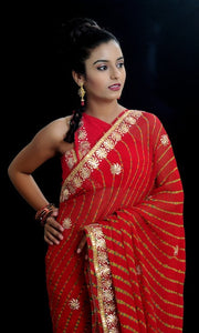 Beautiful Fine Leheriya Saree in Radiant Red - Rana's by Kshitija