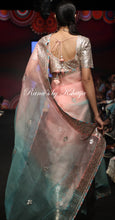 Pure Organza Saree in Pink Blue Ombre Colors
