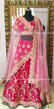 Bright and Light Pink Velvet Lehenga Set
