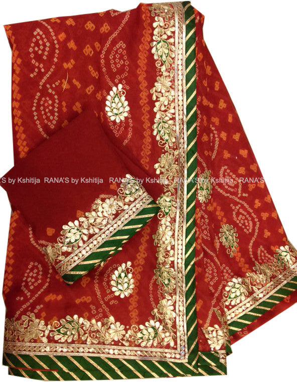 ranas-by-kshitija-red-bandhej-saree-with-fine-gota-bale