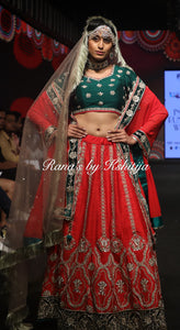Red Bridal Lehenga Set in Rich Zardozi Handwork - Rana's by Kshitija