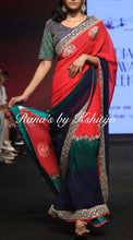 Red Ombre Dyed Pure Georgette Saree