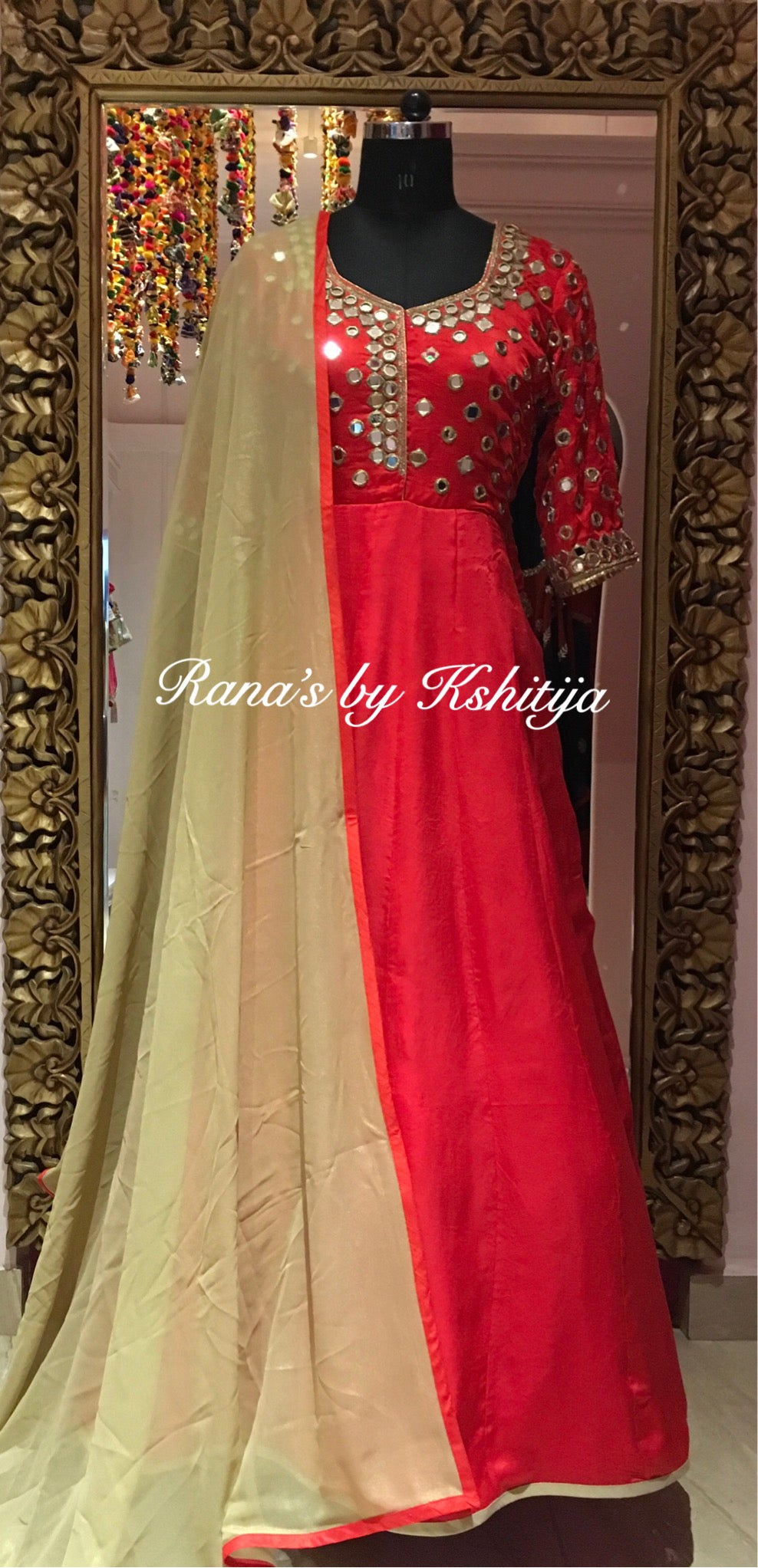 Red Pure Satin Georgette Dress with Mirror Handwork