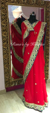 Red Pure Georgette Saree with Blue and Green Contrasts - Rana's by Kshitija