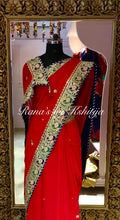 Red Pure Georgette Saree with Blue and Green Contrasts