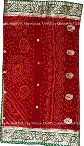 Red Rai Bandhej Saree in Fine Gota Work Design