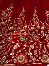 Red Velvet Jaal Lehenga Set