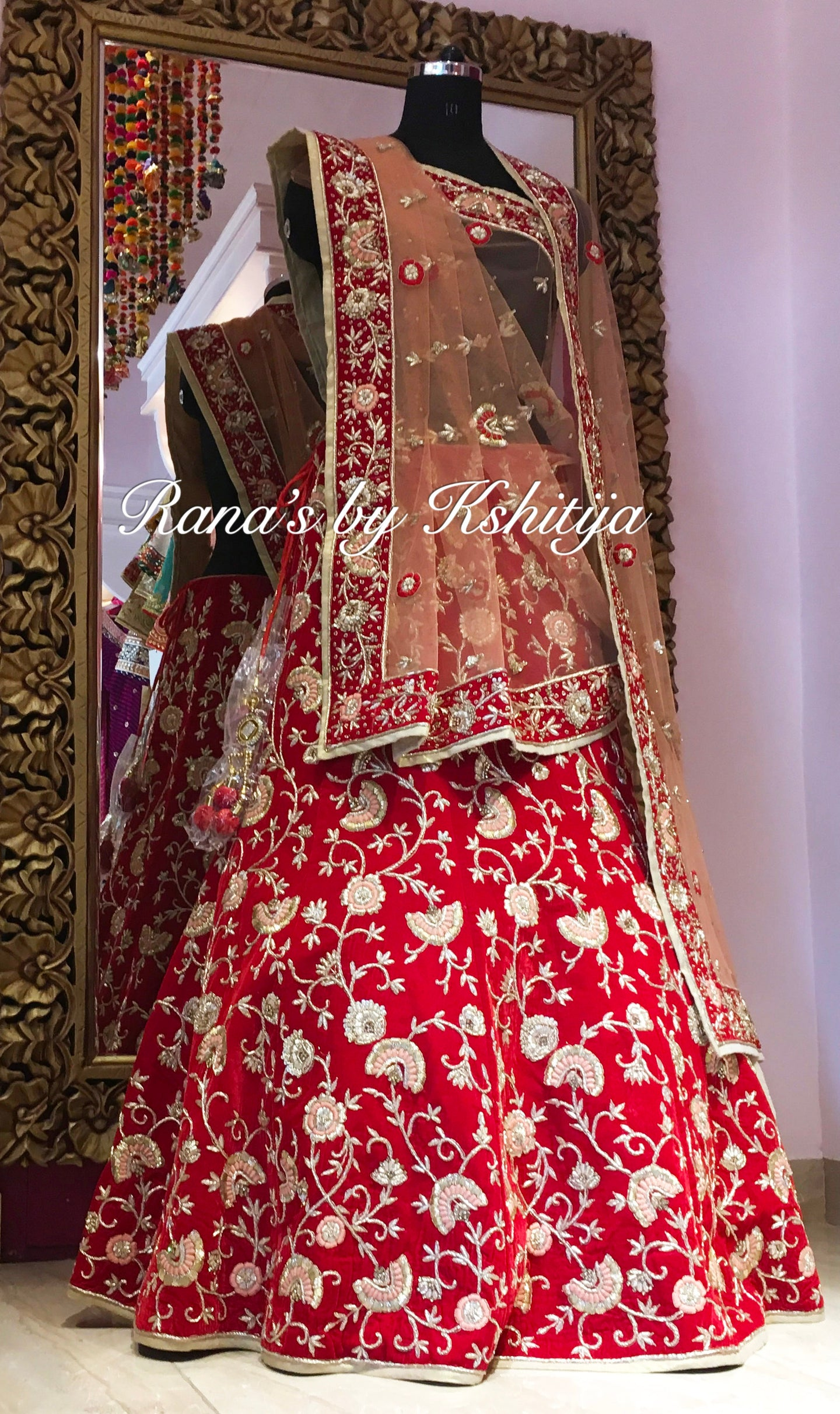 Red Zardozi Worked Bridal Lehenga Set