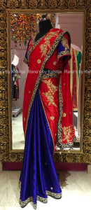 Designer Skirt Pallu Style Blue and Red Saree