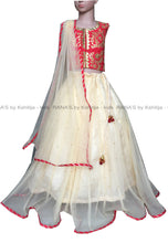 Red and Cream Gota Kids Lehenga - Rana's by Kshitija