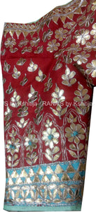 Red and Powder Blue Gota Patti Lehenga Set - Rana's by Kshitija