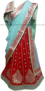 Red and Powder Blue Gota Patti Lehenga Set