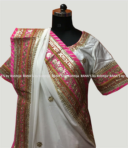 Regal White Gota Patti Saree