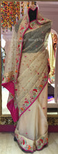 Resham Handwork Colorful Saree in Pure Organza