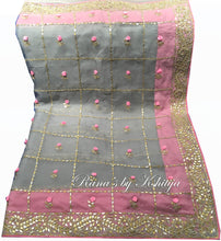 Ribbon worked pure organza saree