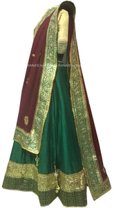 Rich Green and Brown Gota Patti Lehenga Set