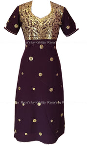 Rich Purple Handworked Neckline Kurti