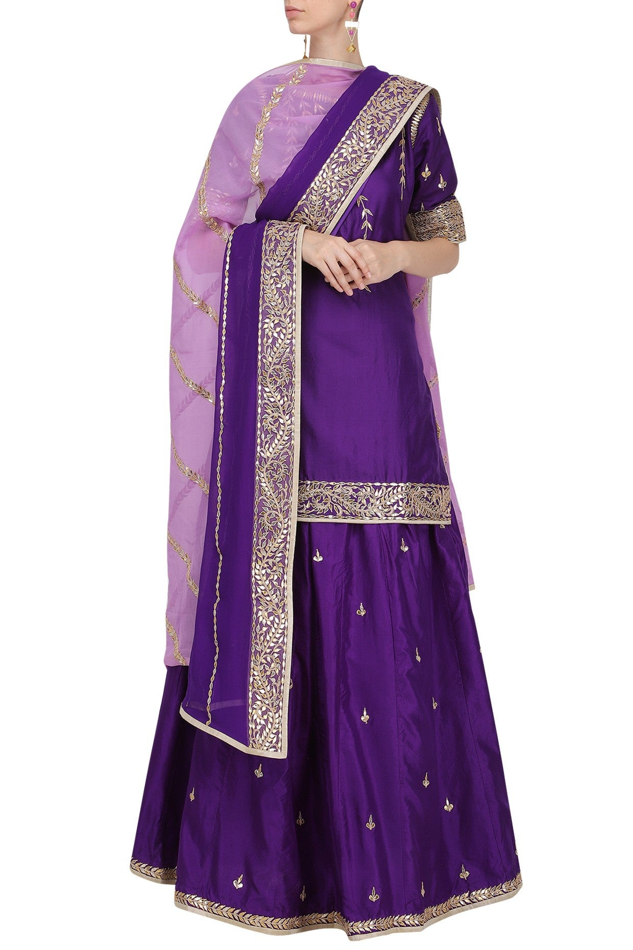 Pretty Purple Skirt Dress Set in Gota Work