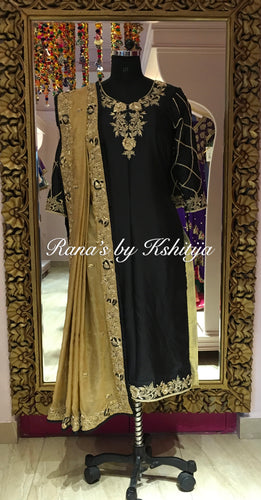 Royal Black Rich Zardozi Salwar Suit - Rana's by Kshitija