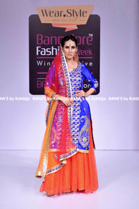 ranas-by-kshitija-royal-blue-and-orange-kurta-skirt-style-dress