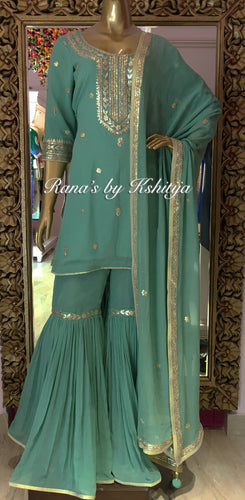 Sage Green Pure Georgette Garara Set