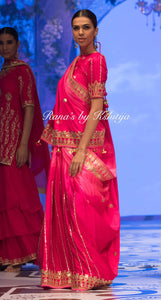 Satin Georgette Shaded Saree in Pink