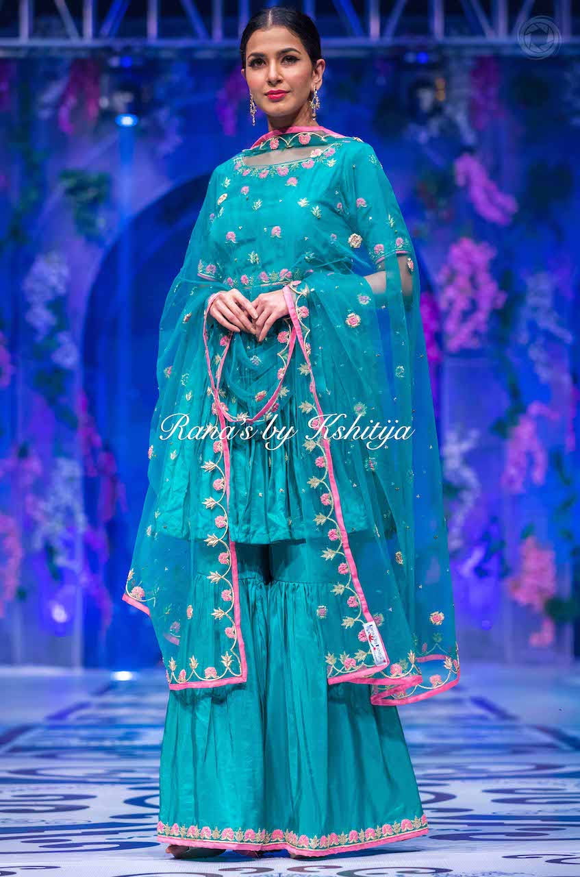 Sea Green Pure Crepe Garara Set