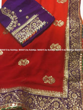 Shaded beautiful fine Gota work Orange and Red Saree