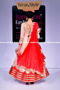 Sweet peach and red floor length kalidar - Rana's by Kshitija