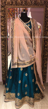 Teal Green and Peach Lehenga Chunni Set - Rana's by Kshitija