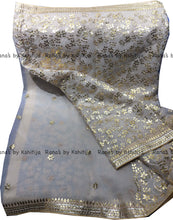 White Gota Jaal Saree in Pure Organza