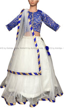 White and Blue Kids Lehenga - Rana's by Kshitija