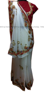 White and Red Pure Georgette Saree - Rana's by Kshitija