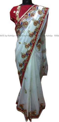 White and Red Pure Georgette Saree