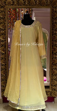 Pure Georgette Yellow A-Line Kalidar Dress Set - Rana's by Kshitija