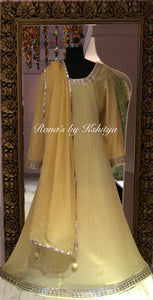 Pure Georgette Yellow A-Line Kalidar Dress Set