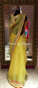 Pure Organza Saree in Yellow with Hot Pink Blouse